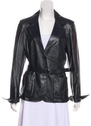 Salvatore Ferragamo Belted Leather Blazer