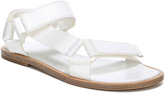 Vince Parks Flat Leather/Nylon Grip-Strap Sandals