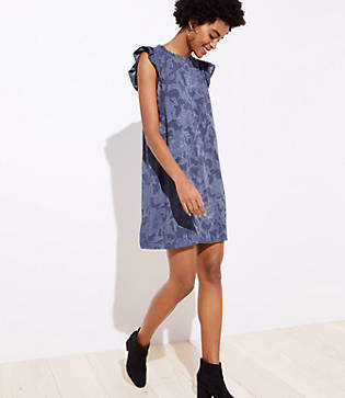 LOFT Petite Floral Jacquard Ruffle Swing Dress