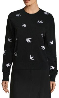 McQ Alexander McQueen Allover Swallow Wool & Cashmere Crewneck Sweater $450 thestylecure.com