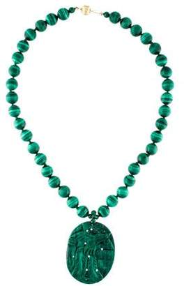 14K Malachite Pendant Necklace