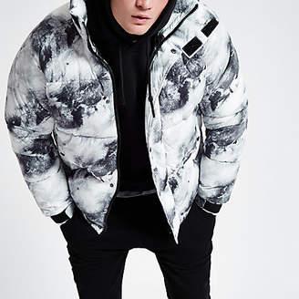 River Island Grey snow print funnel neck puffer jacket