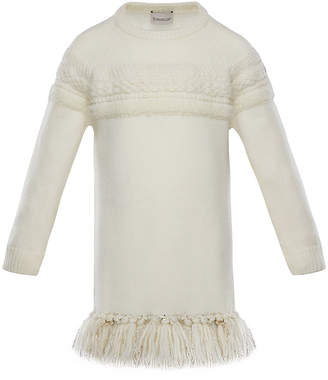 Moncler Mixed-Knit Sweater Dress w/ Metallic Tassel Hem, Size 4-6