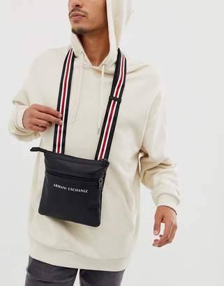 Armani Exchange faux leather logo cross body flight bag in black