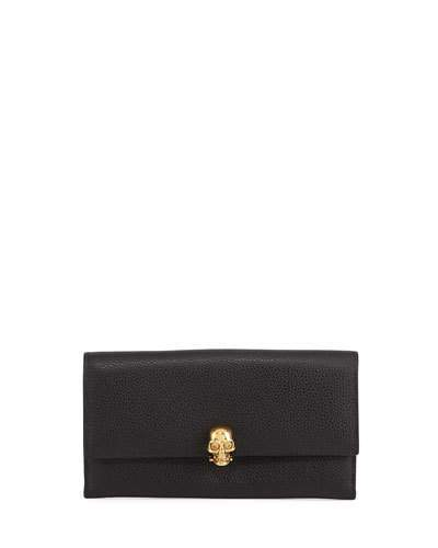 Alexander McQueen Alexander McQueen Skull Continental Leather Wallet, Black