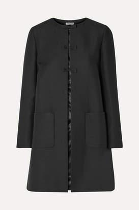 Miu Miu Bow-embellished Wool And Silk-blend Coat - Black