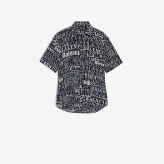 Balenciaga Mixed Typo Short Sleeve Shirt in black, white and grey printed silk crepe