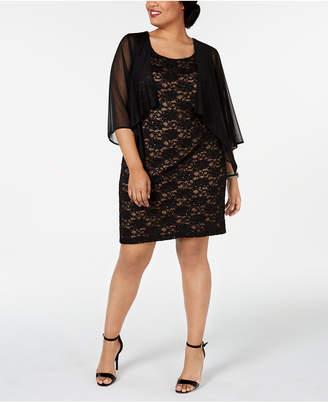a9ee6af3 Connected Plus Size Chiffon Jacket & Lace Sheath Dress