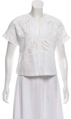 Maiyet Short Sleeve Sheer Accented Top
