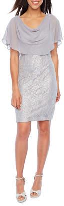Jessica Howard Short Sleeve Cape Sheath Dress