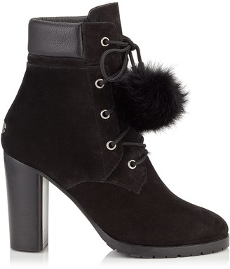Jimmy Choo ELBA 95 Black Suede Boots with Fur Pom Poms