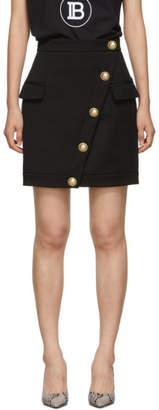 Balmain Black Wool Wrap Skirt