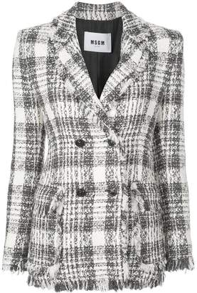 MSGM double-breasted tartan jacket