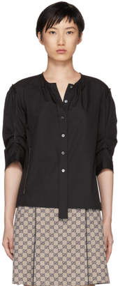 Marc Jacobs Black Poplin Gathered Shirt