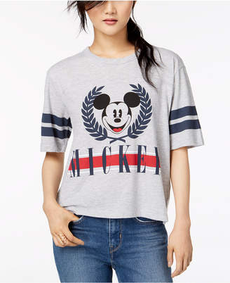 Mighty Fine Juniors' Mickey Mouse Varsity Graphic T-Shirt