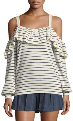 Joie Delbin B Striped Cold-Shoulder Wool-Cashmere Sweater