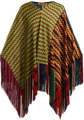 Missoni Wave-laddered knitted poncho