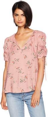 Lucky Brand Women's Puff TIE Sleeve Printed TOP, XL