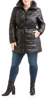 Big Chill Women's Plus Size Long Belted Down Blend Coat