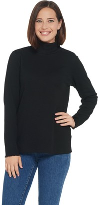 Denim & Co. Rib Long-Sleeve T-Neck Top with Pearl Edge Trim