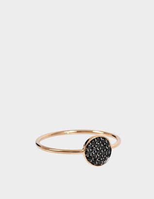 ginette_ny Mini Black Diamond Ever 18-karat rose gold Disc ring