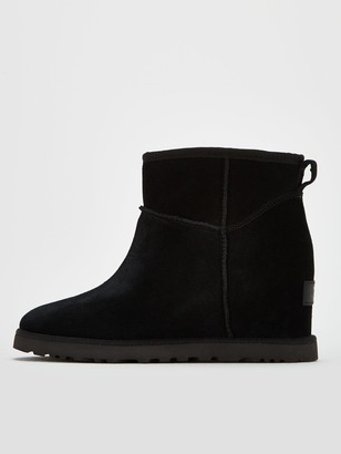 UGG Classic Femme Hidden Wedge Mini Ankle Boots - Black