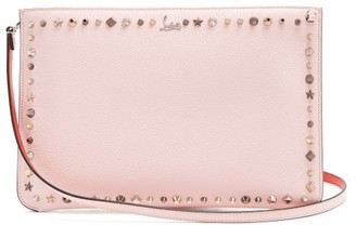 Christian Louboutin Trashmix Spike Embellished Leather Clutch - Womens - Light Pink