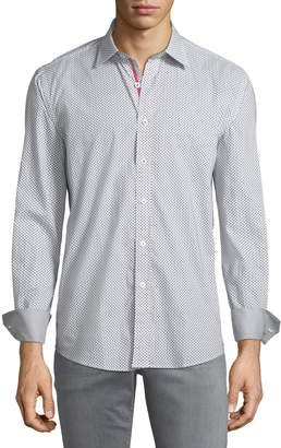 Bugatchi Shaped-Fit Ombre-Dotted Sport Shirt, Gray
