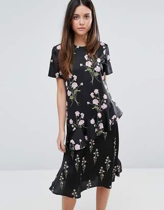 Warehouse Floral Printed Ruffle Midi Dress