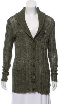 Ralph Lauren Leather-Trimmed Linen Cardigan