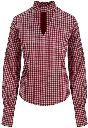 Zalinah White - Alisha Smart Casual Top In Red & White Gingham With V-Neck & Giant Cuffs