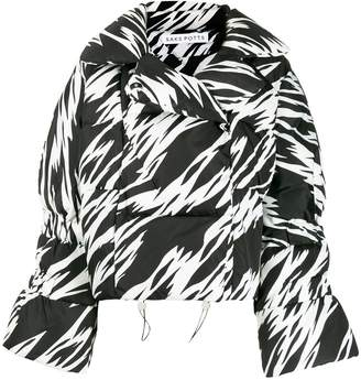 Saks Potts zebra print oversized padded jacket