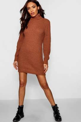 boohoo Roll Neck Soft Knit Jumper Dress