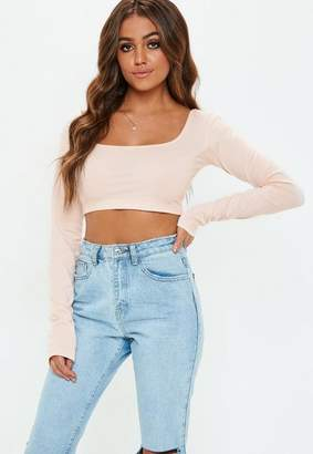 Missguided Ecru Extreme Long Sleeve Crop Top