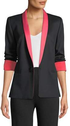 Escada Jeweled One-Button Tux Jacket w/ Contrast Lapel & Cuffs
