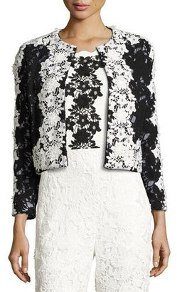 Sachin & Babi Two-Tone Floral Lace Open-Front Jacket, Onyx $695 thestylecure.com