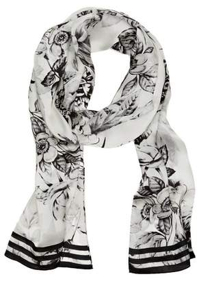 Vince Camuto Floral-print Striped-border Scarf