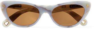 Cat Eye Lucy Folk - Slice Of Heaven Cat-eye Acetate And Gold-tone Sunglasses - Sky blue