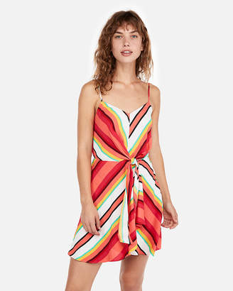 Express Stripe Sleeveless Knot Front Fit And Flare Dress