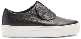 Primury - Paper Planes Slip On Leather Trainers - Womens - Black