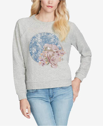 Jessica Simpson Juniors' Kera Embellished Graphic Cropped Sweatshirt