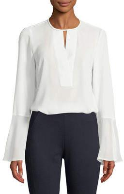 T Tahari Brigitta Necklace Bell-Sleeve Blouse