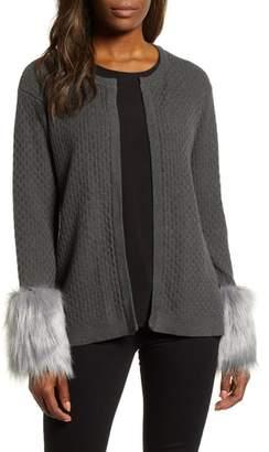 Chaus Faux Fur Detail Cotton Cable Cardigan