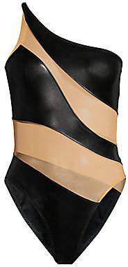 Norma Kamali Women's Snake Mesh One-Shoulder One-Piece Swimsuit