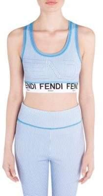 Fendi Striped Logo Sports Bra