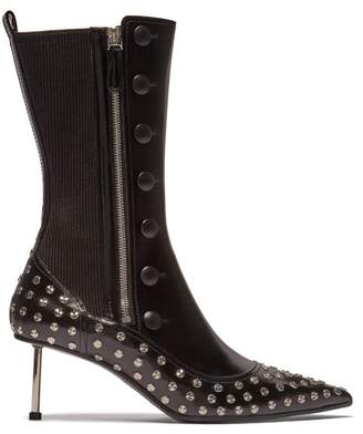 Alexander McQueen Stud Embellished Leather Ankle Boots - Womens - Black Silver