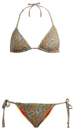 Etro Paisley Print Bikini Set - Womens - Yellow Multi