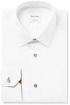 Paul Smith White Slim-Fit Cotton-Poplin Shirt - Men - White