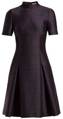 Bottega Veneta Pleated Twill Mini Dress - Womens - Dark Blue