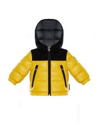 Moncler Roubaix Puffer Jacket w/ Contrast Hood, Yellow, Size 12M-3T